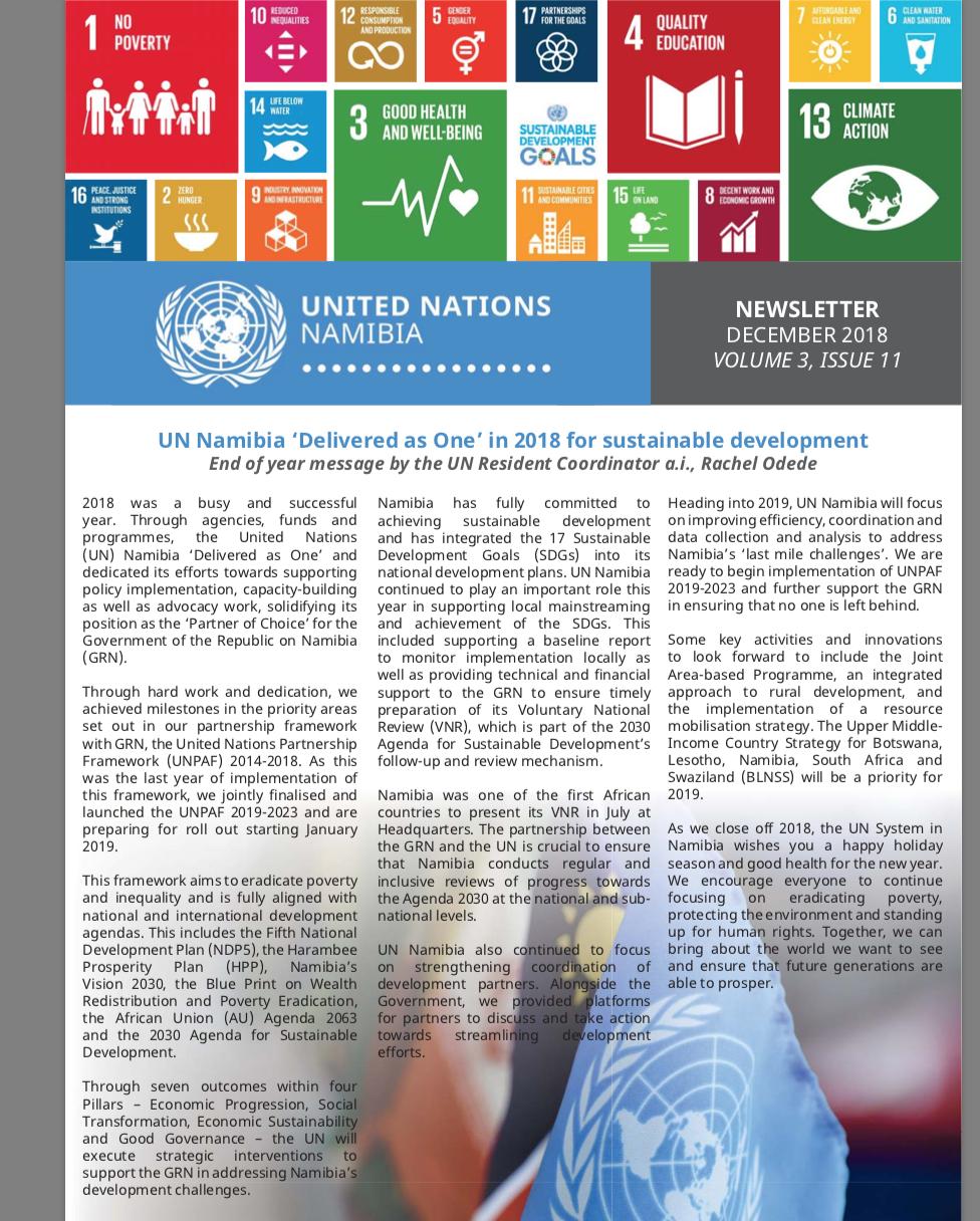 UN Namibia Newsletter- December 2018, Volume 3 Issue 11