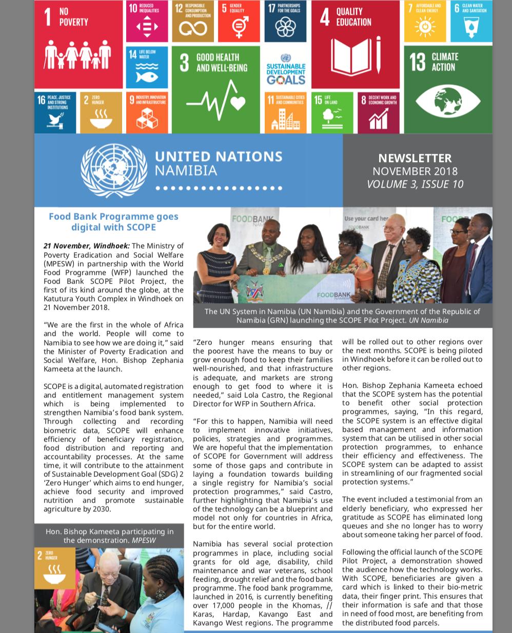 UN Namibia Newsletter- November 2018, Volume 3 Issue 10