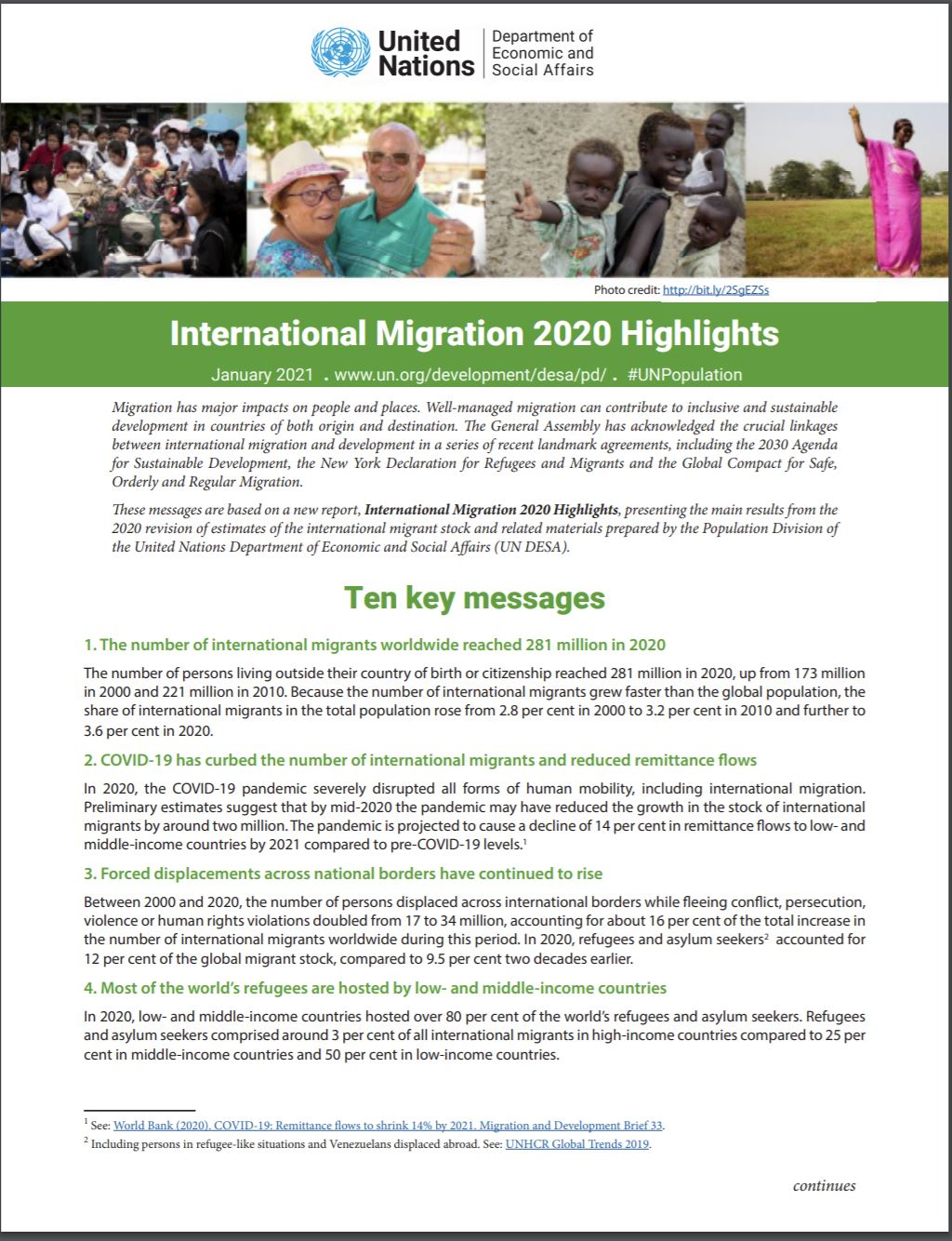International Migration 2020 Highlights Ten Key messages