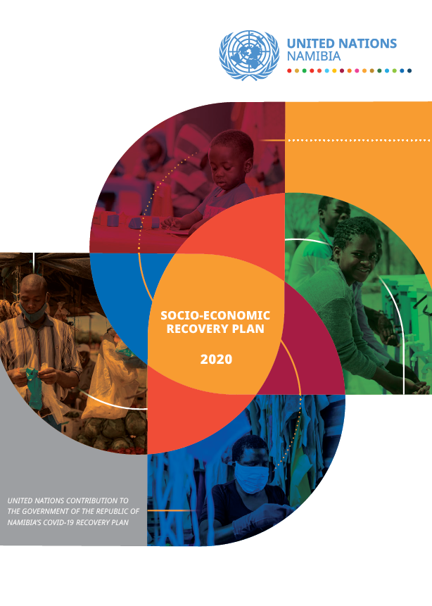 A front cover of a report with a white background and pictures of people superimposed into geometric shapes