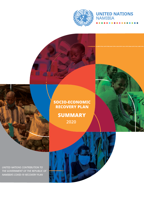 Front Cover of a report with a white background and pictures people superimposed into colorful geometric shapes