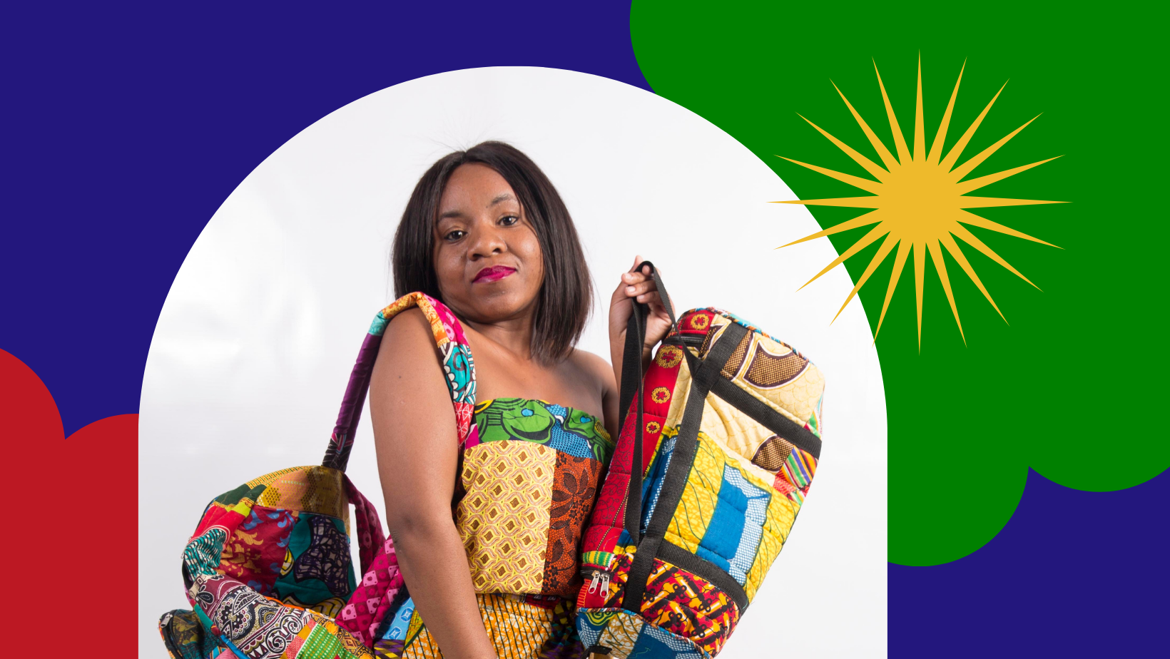 Portrait Ndeshipanda in colorful clothes
