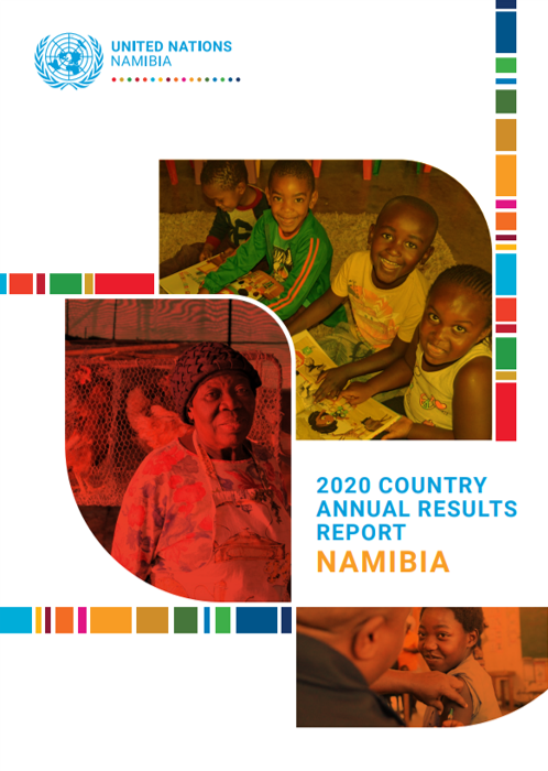 Image shows the front cover of the '2020 Country Annual Results Report Namibia'. On the cover there are three images of Namibians; one of children reading, one of an elderly lady, and one of a person being vaccinated.
