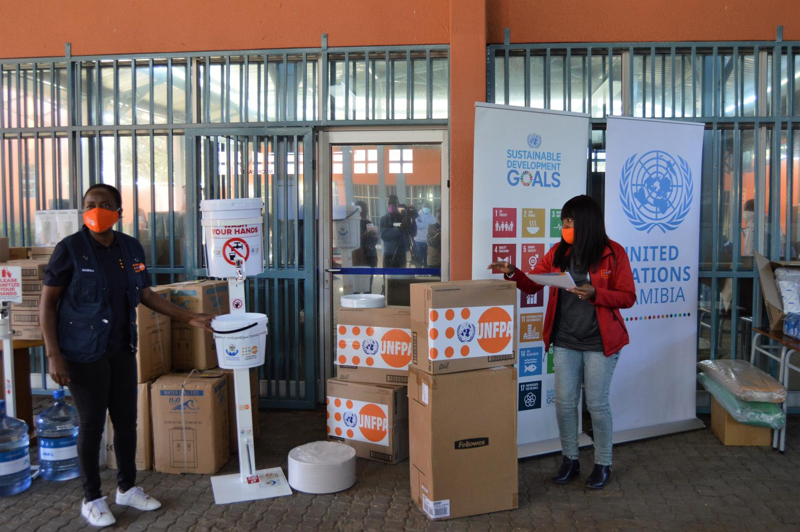 The donation included equipment from UNAIDS, UNFPA, UNDP, UNESCO, UNICEF, WFP, WHO