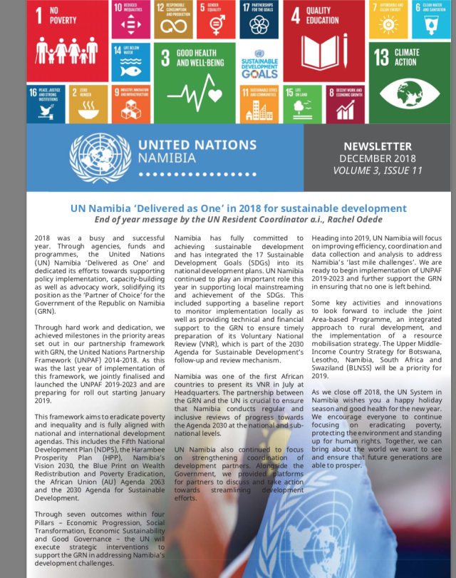 UN Namibia Newsletter- December 2018, Volume 3 Issue 11