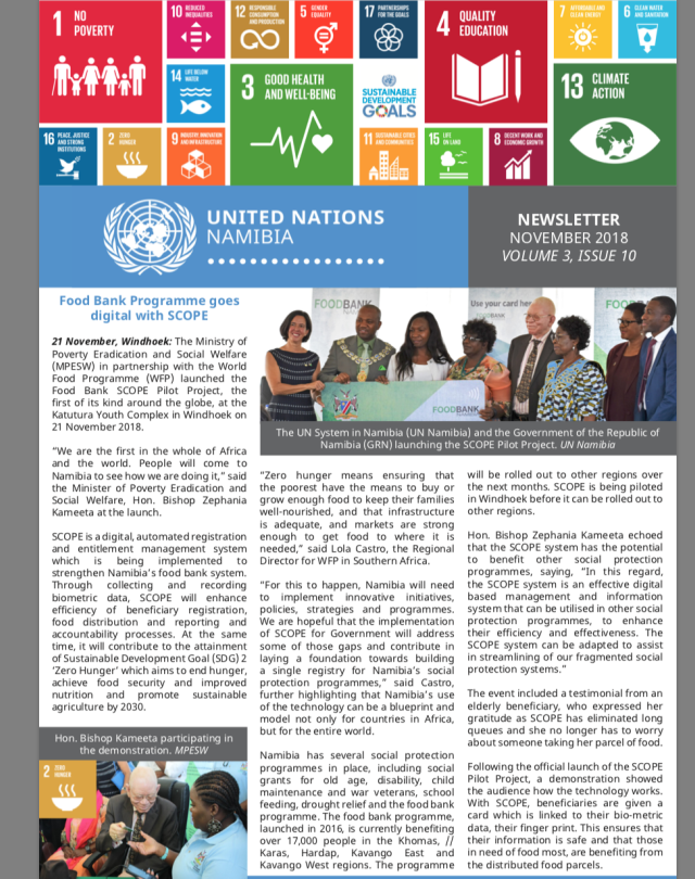 UN Namibia Newsletter- November 2018, Volume 3 Issue 10