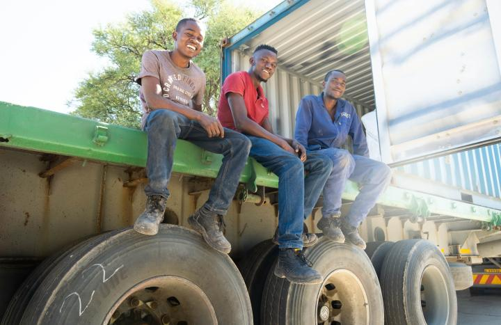 Three young men sitting on the back of a truck.